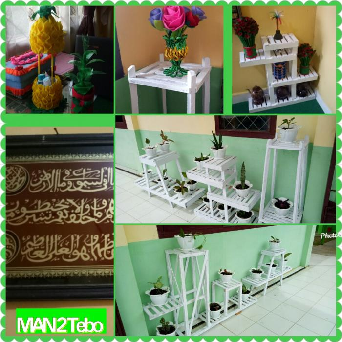 Ide Kreatif Rak Bunga Kayu Minimalis karya siswa MAN 2 Tebo.