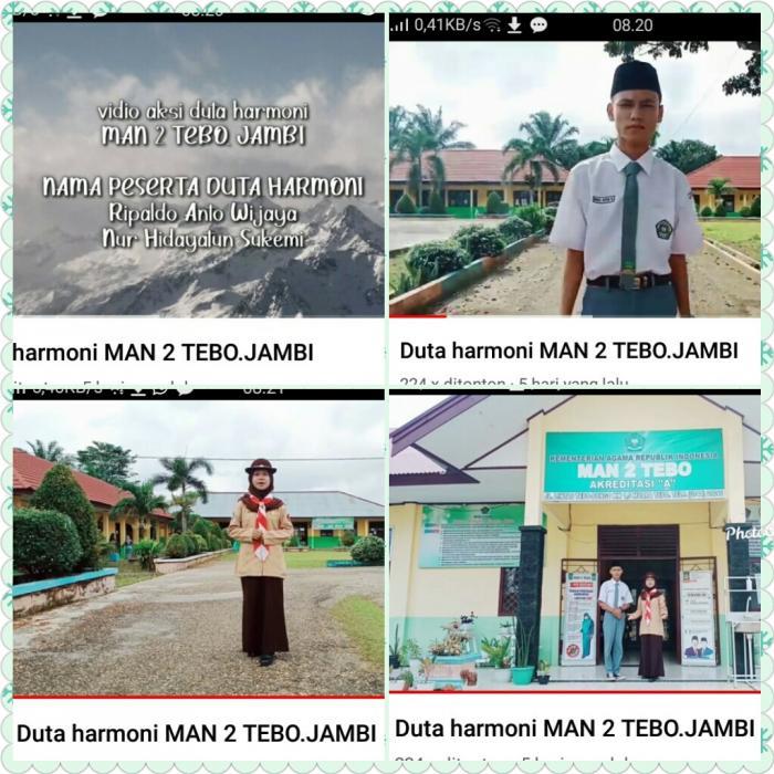 Dua Orang Siswa MAN 2 Tebo mengikuti ajang Nasional Pemilihan Duta Harmoni Tahun 2021