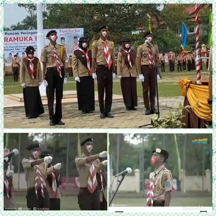 3 orang siswa MAN 2 Tebo sukses sebagai petugas upacara  hari Pramuka ke-60